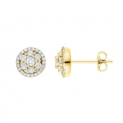 Boucles d'oreilles multi-pierres diamants entourage sertis griffes  en or jaune - Cisca