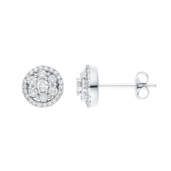Boucles d'oreilles multi-pierres diamants entourage sertis griffes  en or blanc - Cisca