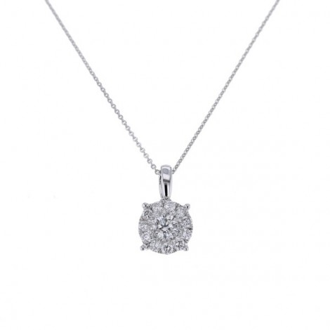 Pendentif solitaire illusion multi-pierres diamants  en or blanc - Elbira
