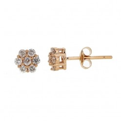 Boucles d'oreilles multi-pierres diamants illusions en or rose - Orlando