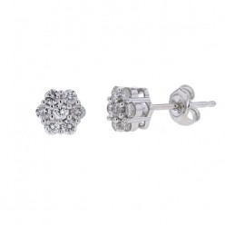 Boucles d'oreilles multi-pierres diamants  en or blanc - Orlando