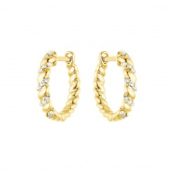Boucles d'oreilles créoles torsadées avec diamants  en or jaune - Aglaia