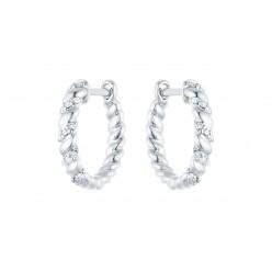 Boucles d'oreilles créoles torsadées avec diamants  en or blanc - Aglaia