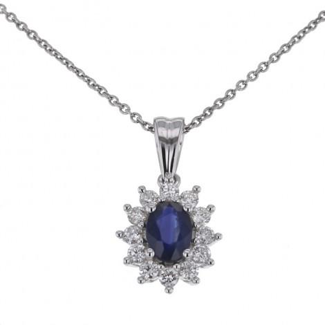 Pendentif saphir entourage de diamants   en or blanc - Errel