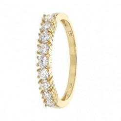 Demi-alliance diamants sertis quatre griffes  en or jaune - Aura