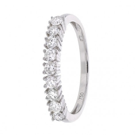 Demi-alliance diamants sertis quatre griffes  en or blanc - Aura
