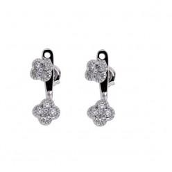 Boucles d'oreilles diamants trèfles avec accroche en or blanc - Stella